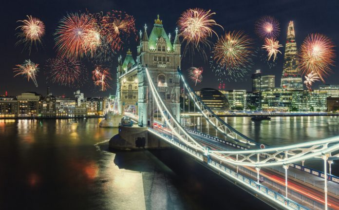New Year fireworks in London at the Tower bridge with firework, UK