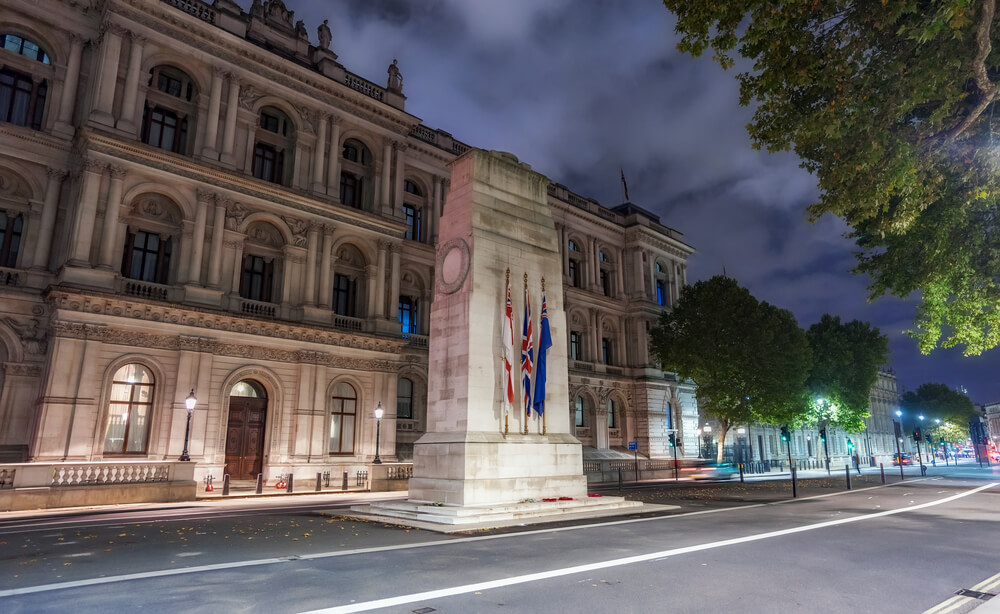 The Cenotaph in Whitehall at night