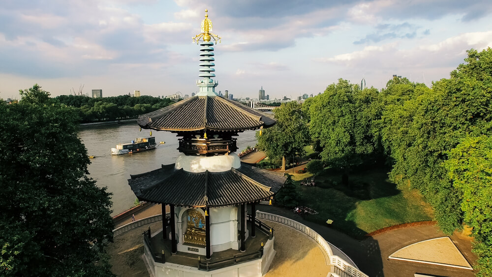 Japanese Buddhist Peace Pagoda temple in Battersea Park by the river Thames, London, UK
