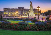 Panorama of Buckingham Palace in London, United Kingdom
