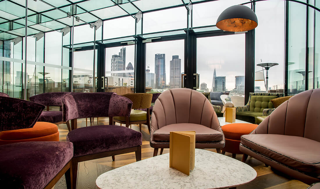 Aviary at the Montcalm Royal London House is a rooftop restaurant and bar