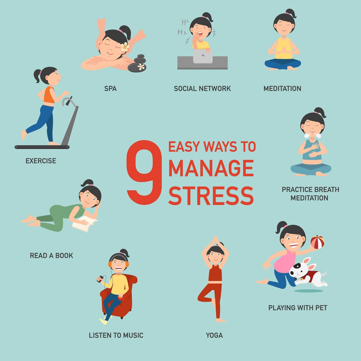 9 Easy Ways to manage Stress - Montcalm Hotels Infographics